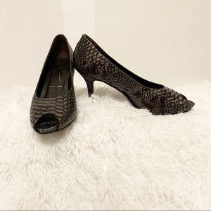 Donald J. Pliner snakeskin peep-toe pumps